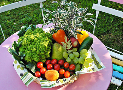 assorted fruits and vegetables in brown wicker basket