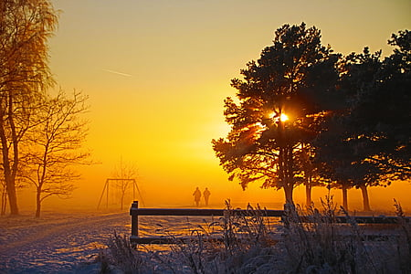 two person walking during sunrise