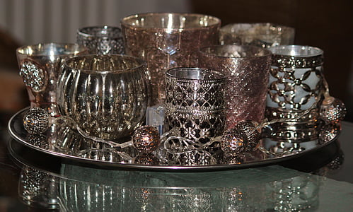 assorted silver cups