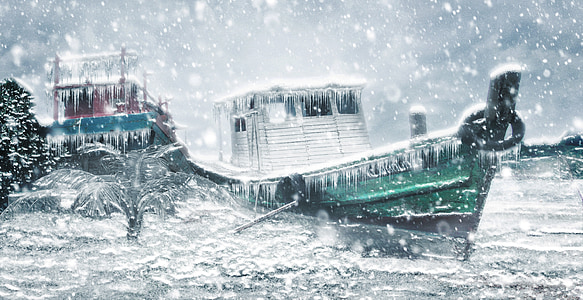 painting of frozen green ship