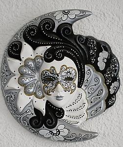 gray and black floral masquerade mask