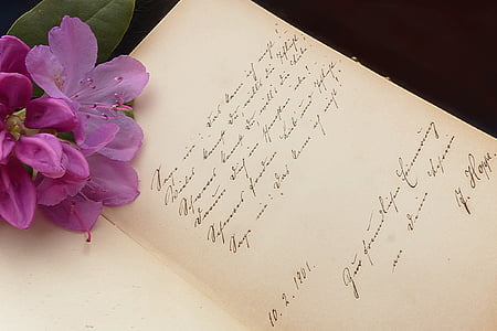 dedication card with flower