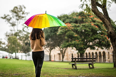 woman standing and holding multicolored umbrella
