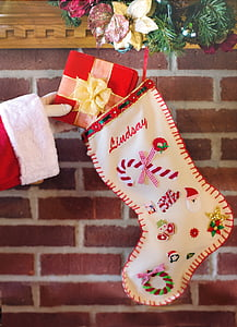 white and red Christmas stocking decor