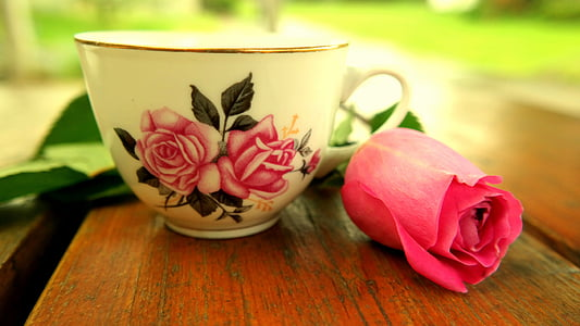 white and pink floral ceramic teacup beside pink rose