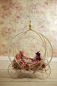 white wrought iron carriage table decor