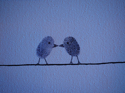 two birds perched on cable illustration
