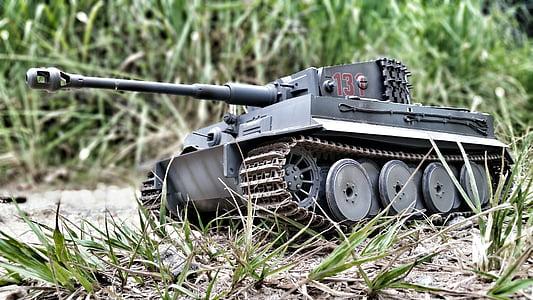 black battle tank scale model