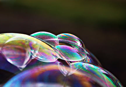 closeup photo of iridescent bubbles