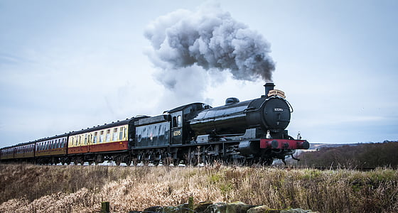 gray steam train