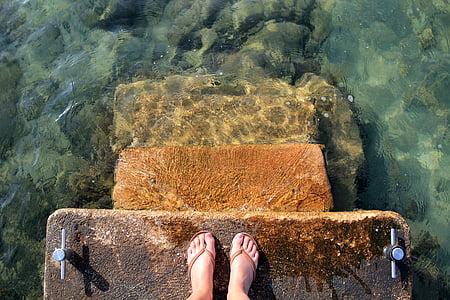 person in flip-flops beside body of water