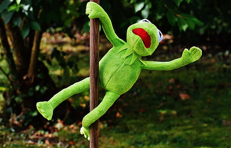 Kermit the Frog holding on pole