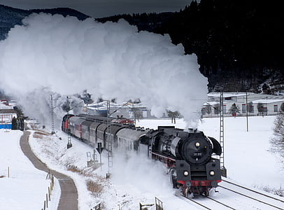 black train on snow trail
