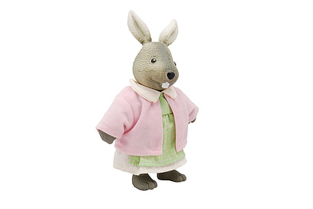 gray rabbit in pink dress