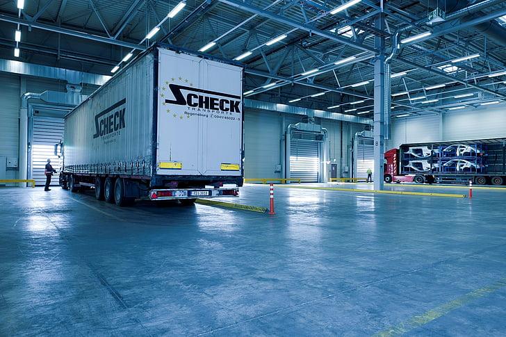 white and black Zcheck box truck