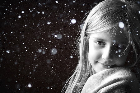 grayscaled photography of girl