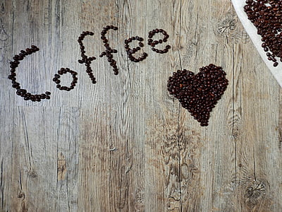 coffee and heart bean art