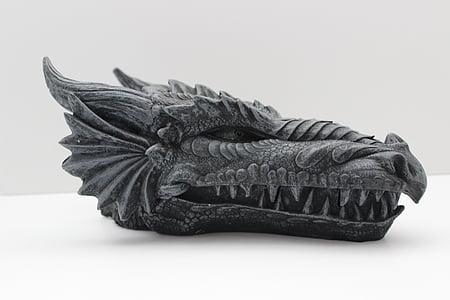 gray dragon head decor