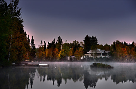 reflecting photo of house on body of water