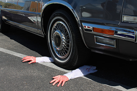 severed arms, vehicular death, halloween, death, halloween decor, halloween decorations