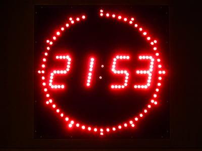 red LED alarm clock at 21:53