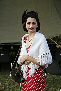 women's red and white polka-dot dress