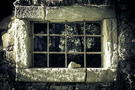 rectangular gray concrete window pane