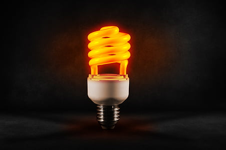 white and yellow spiral light bulb