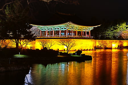 green and brown temple near body of water at night