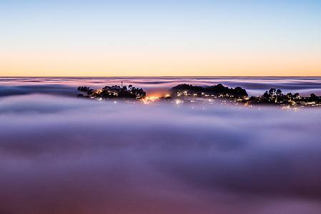 cloudscape, above, housing, clouds, sky, top