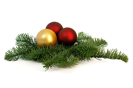 three red and gold Christmas baubles