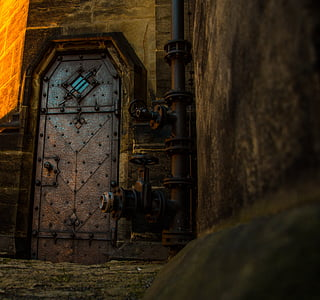 photo of closed gray metal door