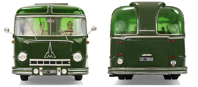 two men inside green van