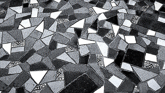 grayscale photo of mosaic floor