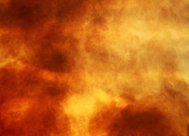 smoke, fire, evening sky, sunset, campfire, lighting