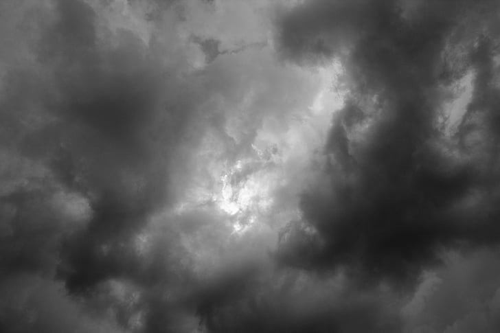 low angle photography of black clouds
