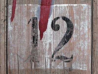 twelve, number, wood, door, board, digit