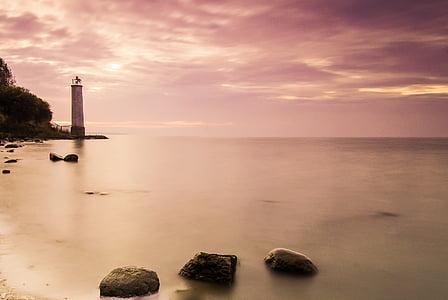 lighthouse, sunset, rügen, lighting, sea, nature