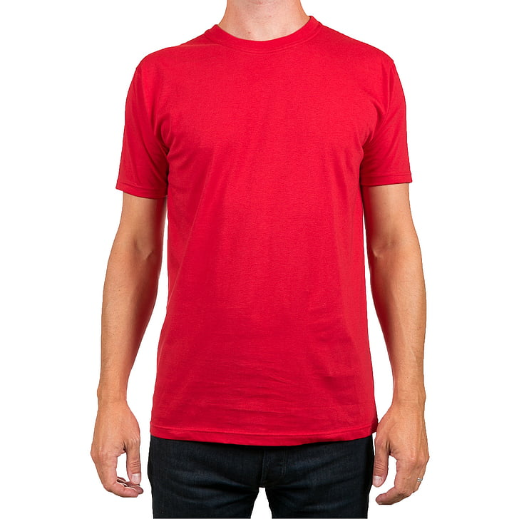 man in red crew-neck t-shirt and black bottoms