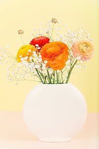 orange, red, and pink flowers painting