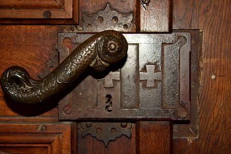 gray metal door lock