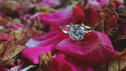 gold-colored diamond solitaire ring