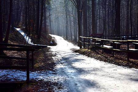 white snow path