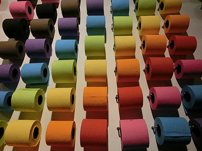 assorted-color toilet papers
