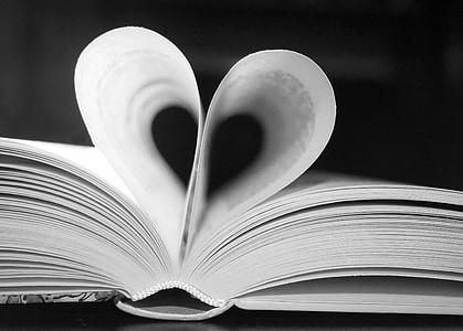 heart formed open book