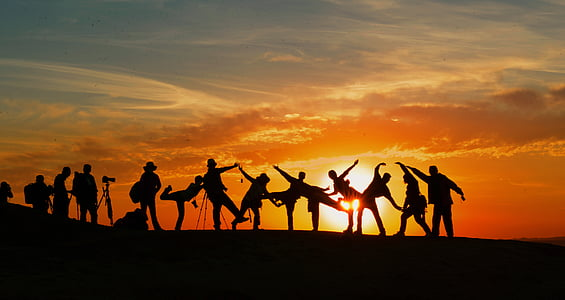 silhouette photograph of group of people during golden hour