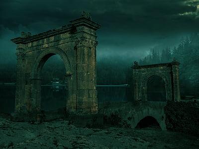 two gray concrete arch ways on arch bridge