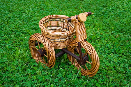 woven trike basket on grass field
