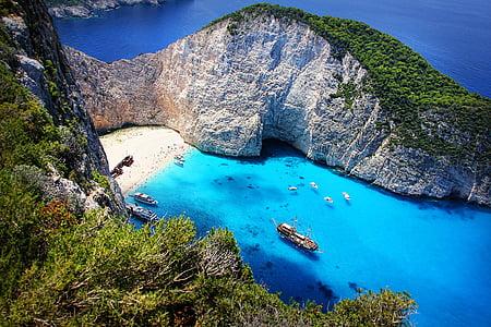 high-angle photography of island