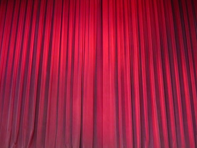 red pleated curtain